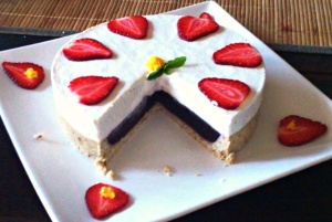 Strawberry Coconut Cream Cake, cut