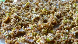 wet granola ready for dehydrator